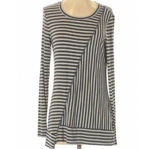 CAbi Striped Tunic Top Small Blue Gray Shirt